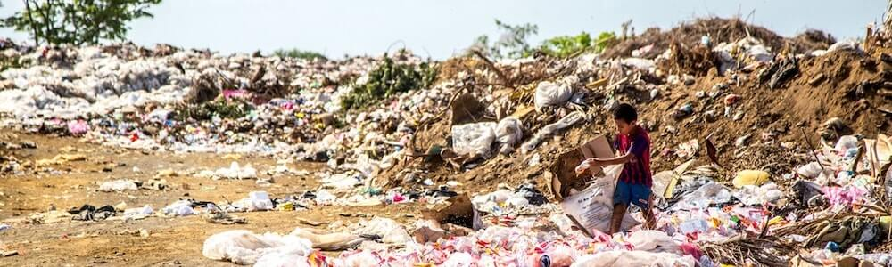 boy in garbage dump